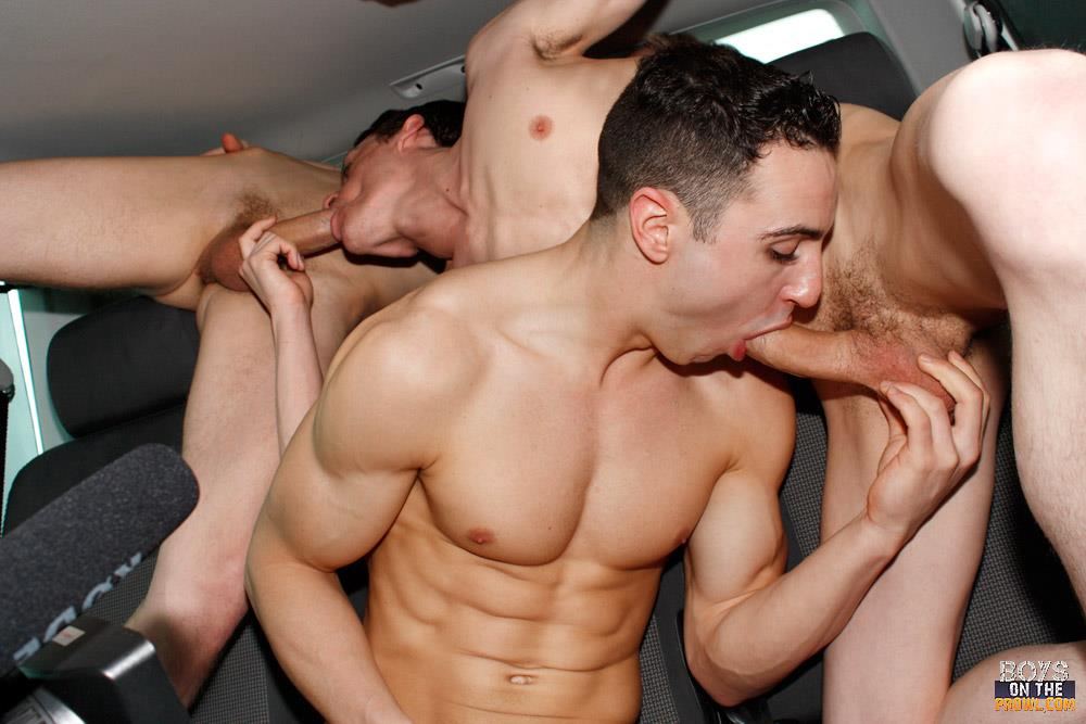 Boys-On-The-Prowl-Jake-Kelvin-and-Sean-McKenzie-And-Reece-Bentley-Big-Cock-Twinks-Fucking-In-A-Car-Amateur-Gay-Porn-04 Amateur Gay Twinks Pick Up A Straight Boy And Offer Him Cash For Sex